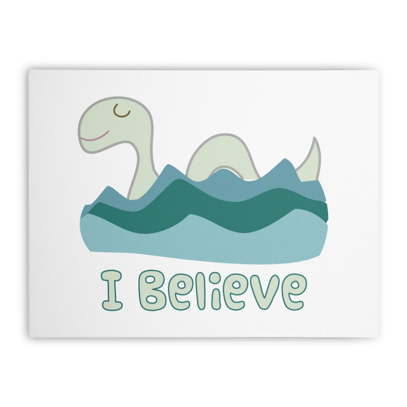 I Believe in Lake Monsters Home Stretched Canvas by Awkward Design Co. Artist Shop