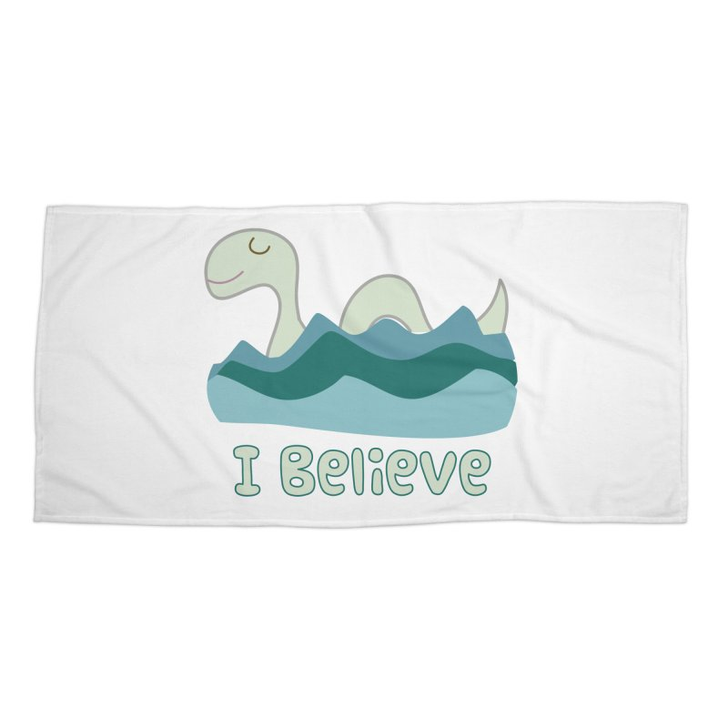I Believe in Lake Monsters Accessories Beach Towel by Awkward Design Co. Artist Shop