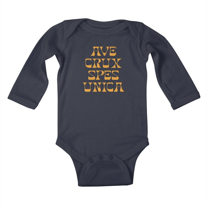 Ave Crux Spes Unica Kids Baby Longsleeve Bodysuit by A Worthy Manner Goods & Clothing