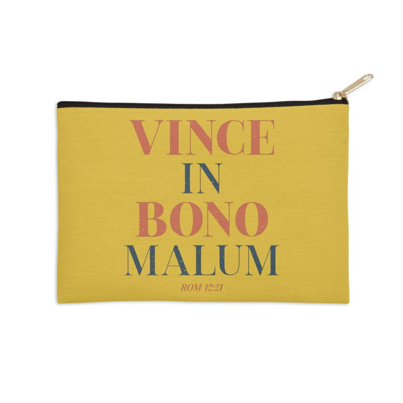 Vince in bono malum - Overcome evil with good (Rom 12:21) Accessories Zip Pouch by A Worthy Manner Goods & Clothing