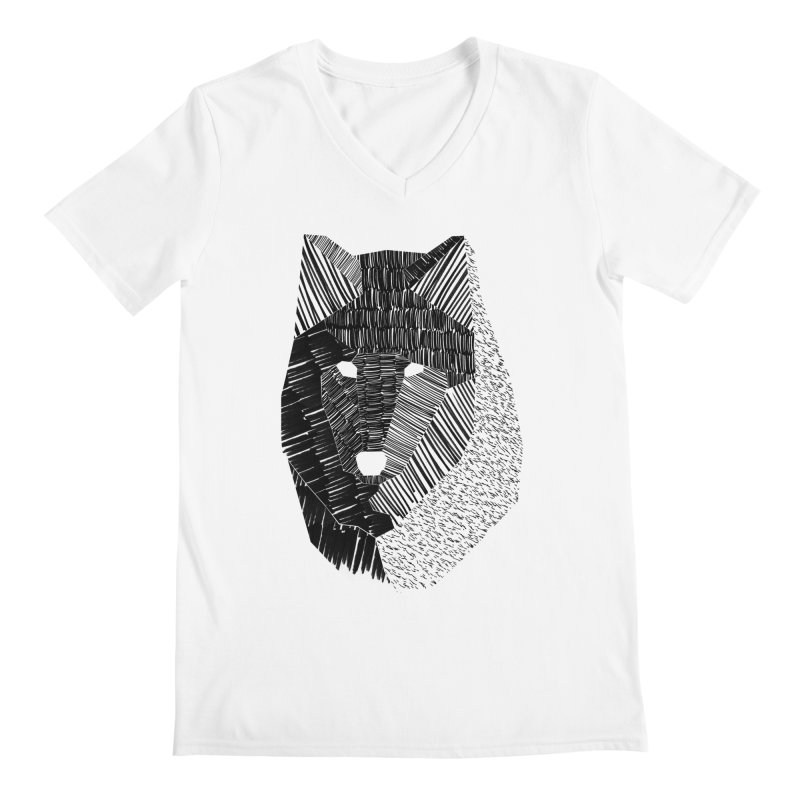Wolf Mask Men's V-Neck by ayarti's Artist Shop