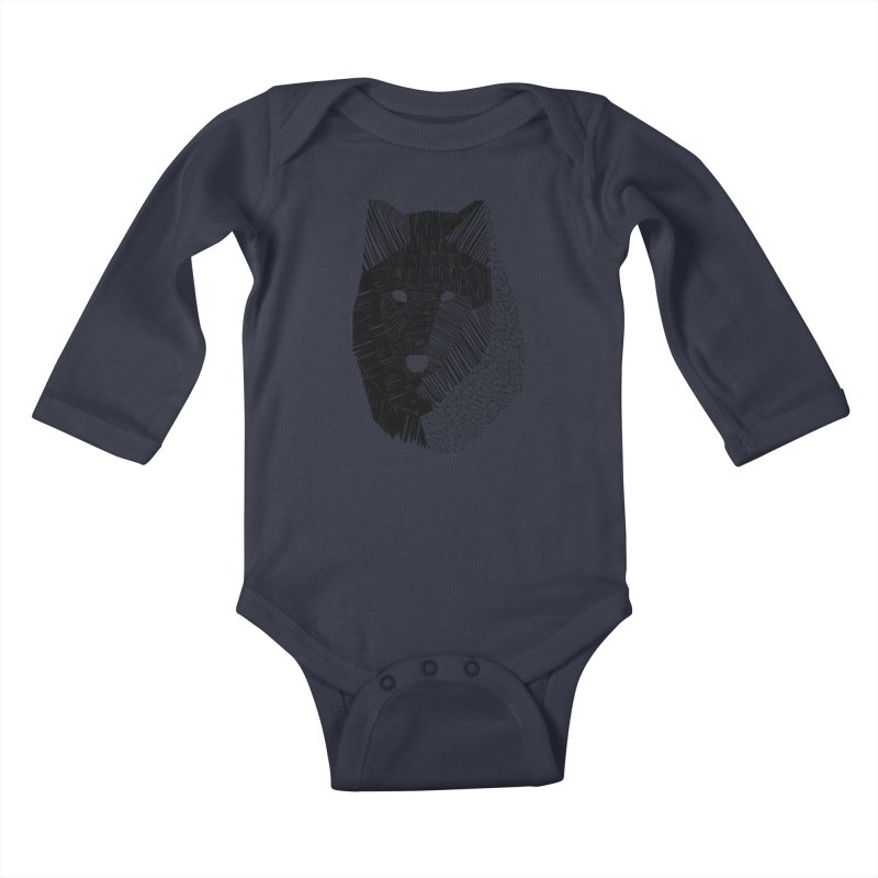 Wolf Mask Kids Baby Longsleeve Bodysuit by ayarti's Artist Shop