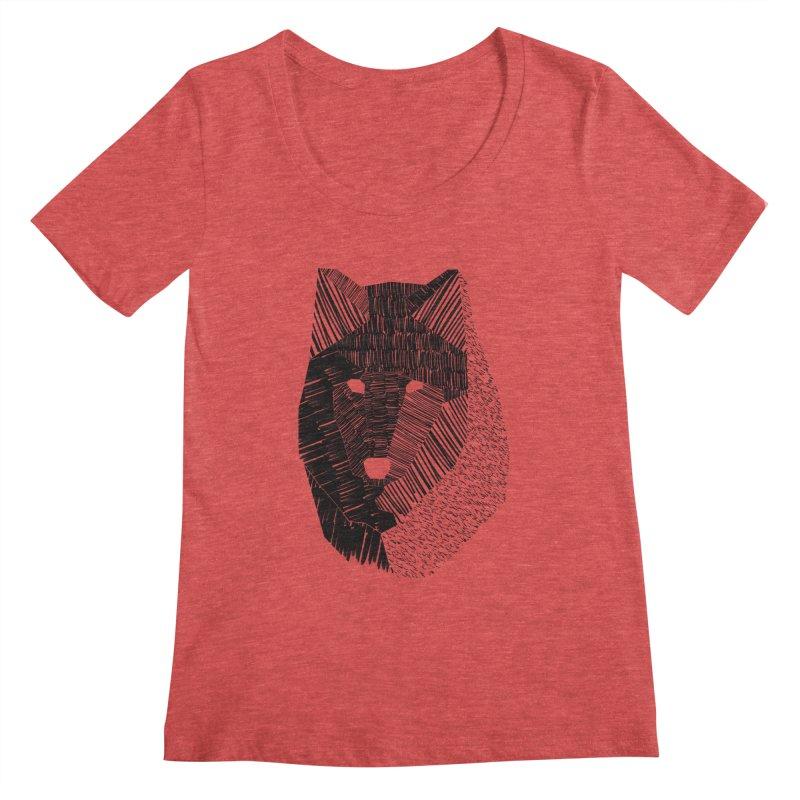 Wolf Mask Women's Scoopneck by ayarti's Artist Shop