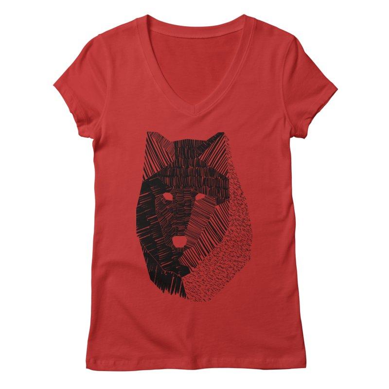 Wolf Mask Women's V-Neck by ayarti's Artist Shop