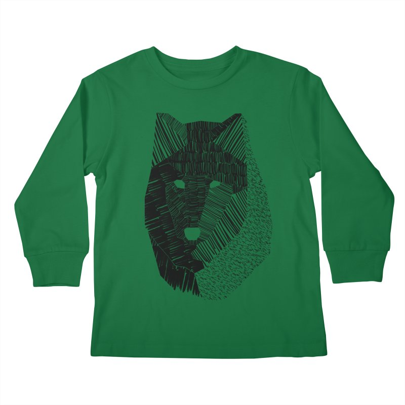 Wolf Mask Kids Longsleeve T-Shirt by ayarti's Artist Shop