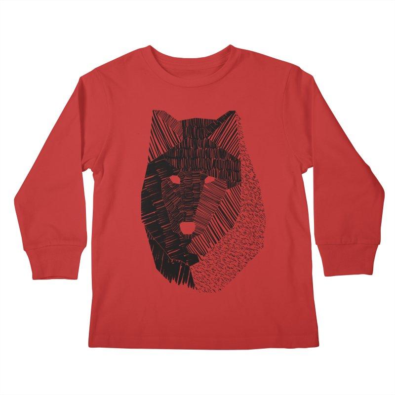 Wolf Mask Kids Longsleeve T-Shirt by ayarti's Artist Shop