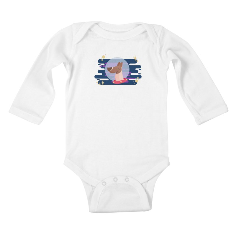 Space Dog Kids Baby Longsleeve Bodysuit by -AY- Creative Shop