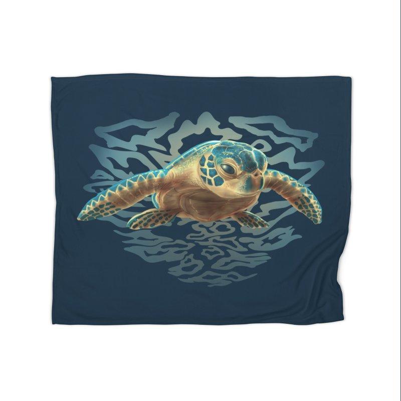 Sea Turtle Home Fleece Blanket Blanket by Ayota Illustration Shop