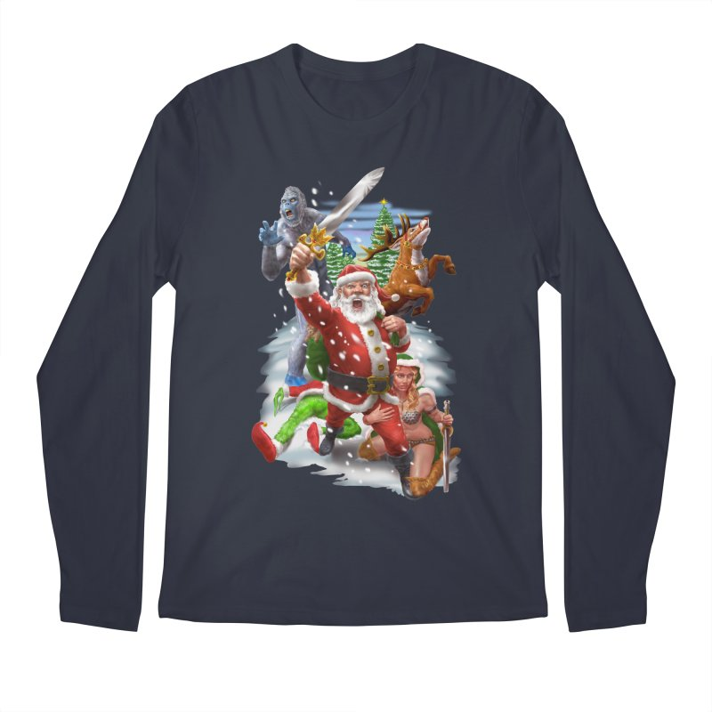 Santa The Barbarian Men's Regular Longsleeve T-Shirt by Ayota Illustration Shop
