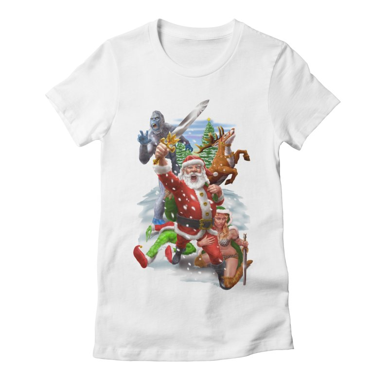 Santa The Barbarian Women's Fitted T-Shirt by Ayota Illustration Shop