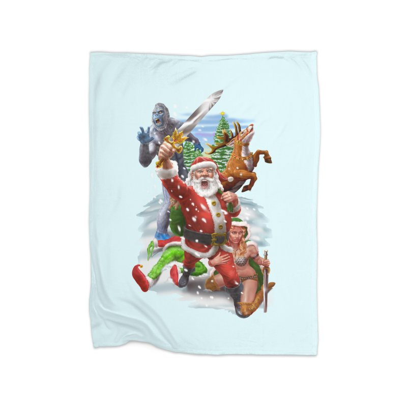 Santa The Barbarian Home Fleece Blanket Blanket by Ayota Illustration Shop