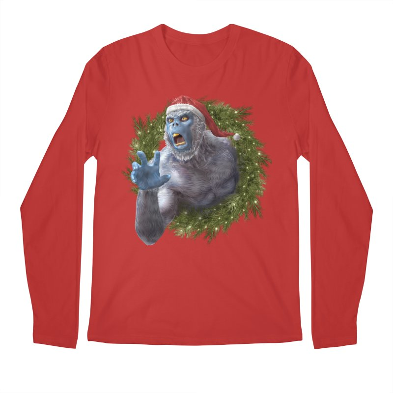 Christmas Yeti  Men's Regular Longsleeve T-Shirt by Ayota Illustration Shop