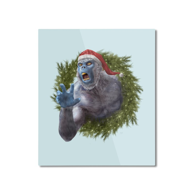 Christmas Yeti  Home Mounted Aluminum Print by Ayota Illustration Shop