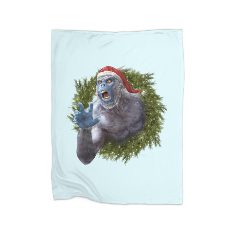 Christmas Yeti  Home Fleece Blanket Blanket by Ayota Illustration Shop