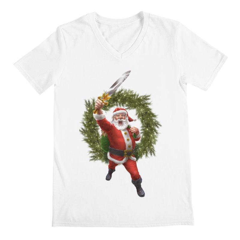 Santa Sleigher (or Santa The Barbarian) Men's V-Neck by Ayota Illustration Shop