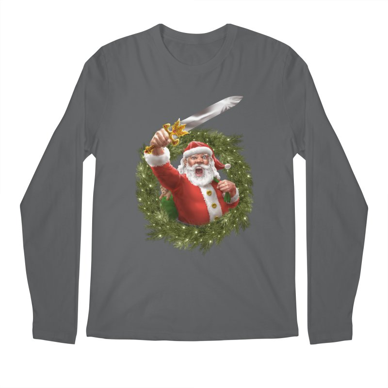 Santa The Barbarian and Christmas Wreathe Men's Regular Longsleeve T-Shirt by Ayota Illustration Shop