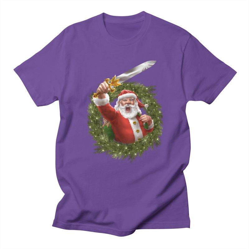 Santa The Barbarian and Christmas Wreathe Men's Regular T-Shirt by Ayota Illustration Shop