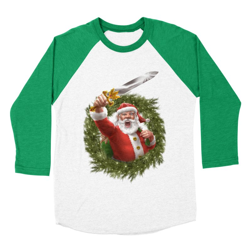 Santa The Barbarian and Christmas Wreathe Women's Baseball Triblend Longsleeve T-Shirt by Ayota Illustration Shop