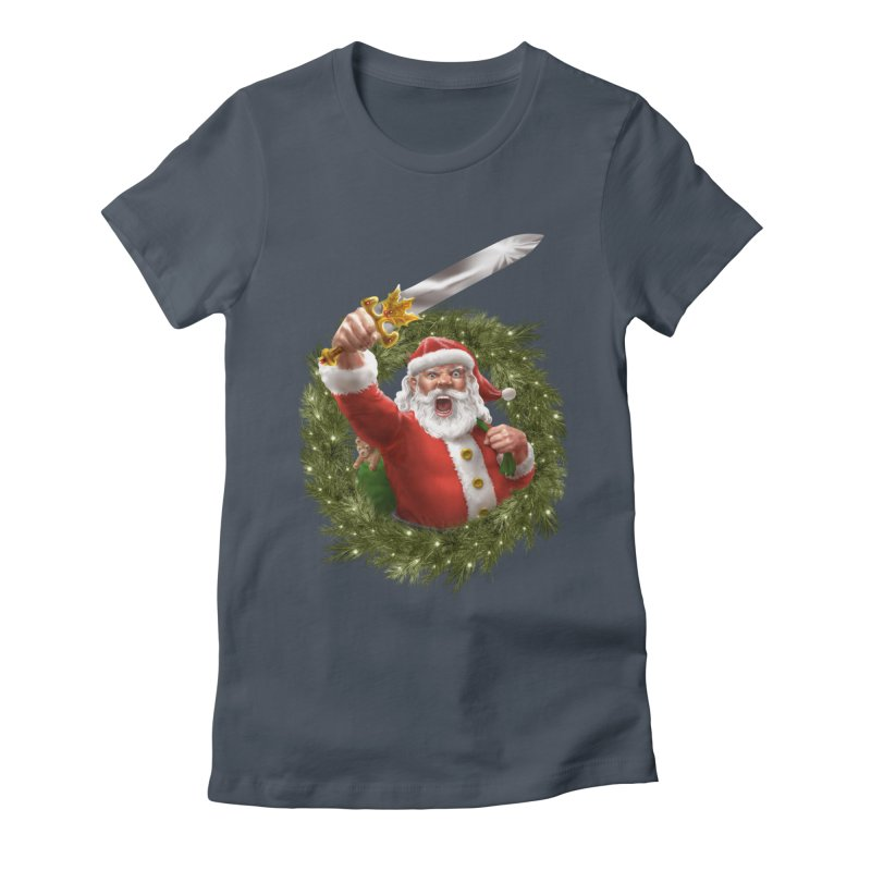 Santa The Barbarian and Christmas Wreathe Women's T-Shirt by Ayota Illustration Shop