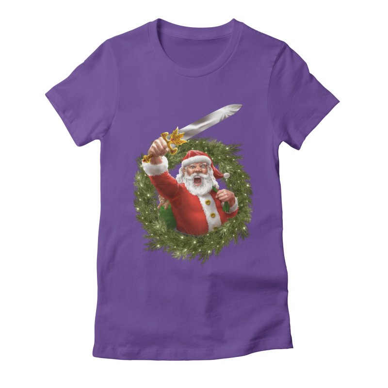 Santa The Barbarian and Christmas Wreathe Women's Fitted T-Shirt by Ayota Illustration Shop