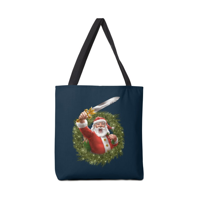 Santa The Barbarian and Christmas Wreathe Accessories Tote Bag Bag by Ayota Illustration Shop
