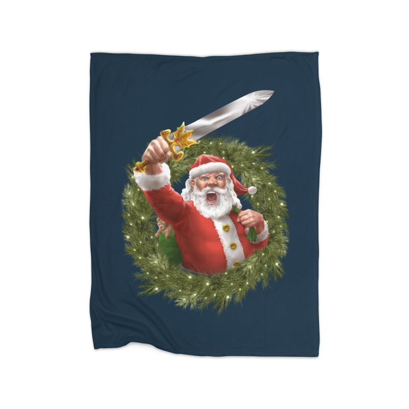 Santa The Barbarian and Christmas Wreathe Home Fleece Blanket Blanket by Ayota Illustration Shop