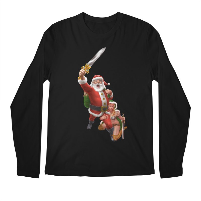 Santa and Mrs Claus  Men's Regular Longsleeve T-Shirt by Ayota Illustration Shop