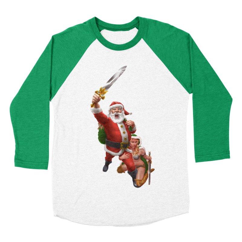 Santa and Mrs Claus  Women's Baseball Triblend Longsleeve T-Shirt by Ayota Illustration Shop