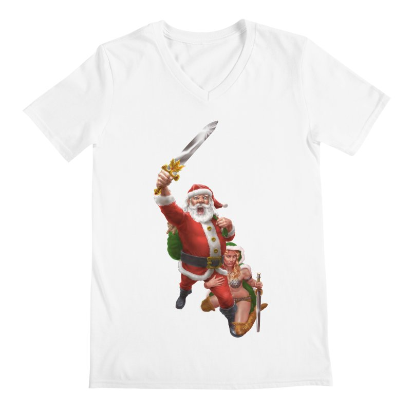 Santa and Mrs Claus  Men's V-Neck by Ayota Illustration Shop