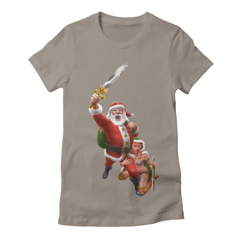 Santa and Mrs Claus  Women's Fitted T-Shirt by Ayota Illustration Shop