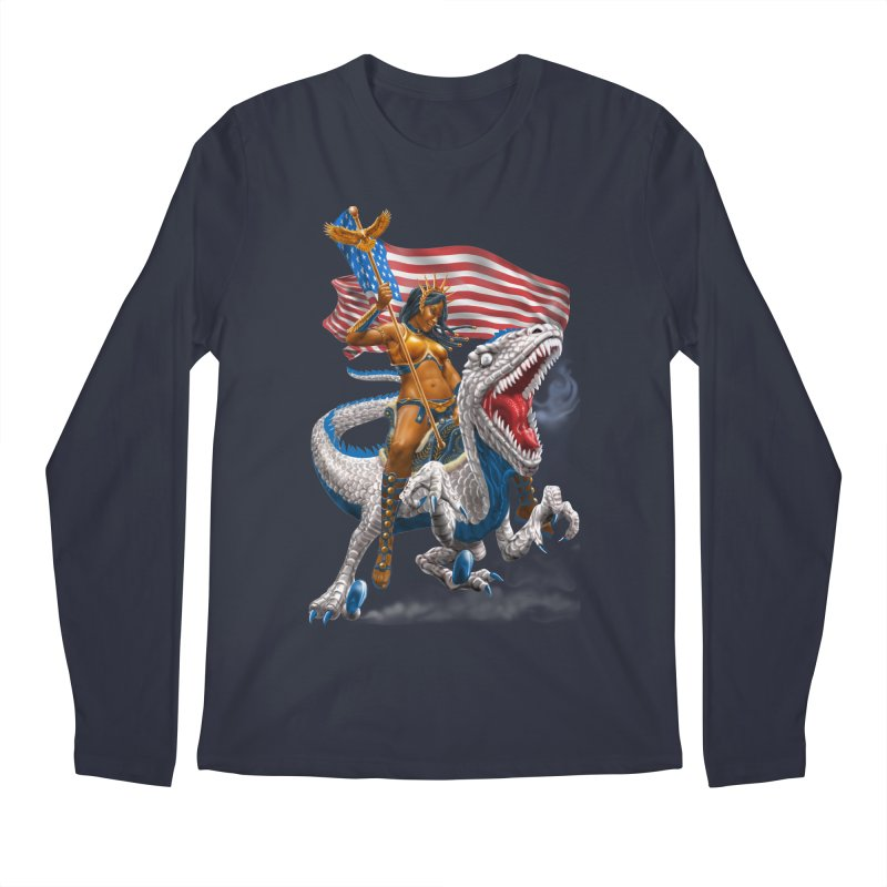 Liberty Patriosaur Men's Regular Longsleeve T-Shirt by Ayota Illustration Shop