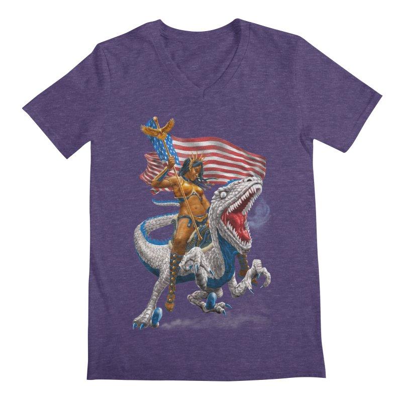 Liberty Patriosaur Men's V-Neck by Ayota Illustration Shop