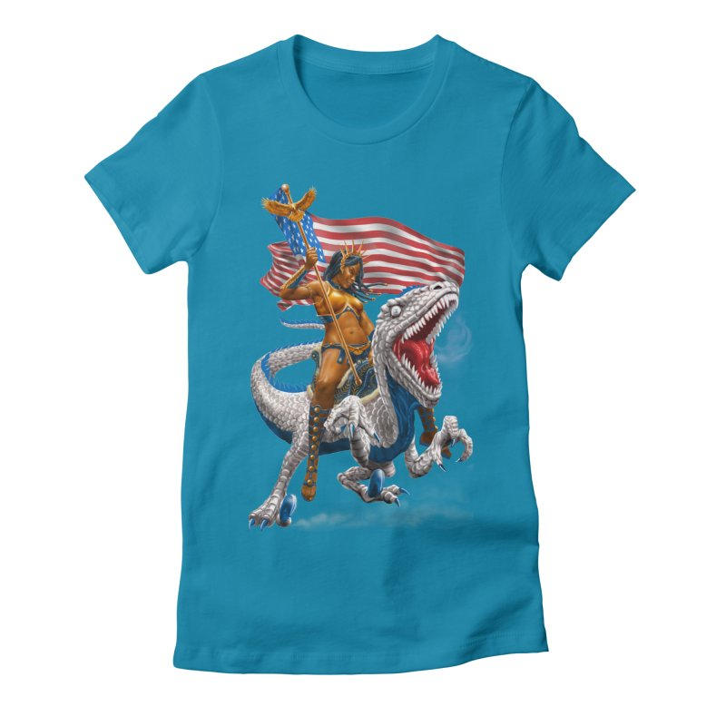 Liberty Patriosaur Women's Fitted T-Shirt by Ayota Illustration Shop
