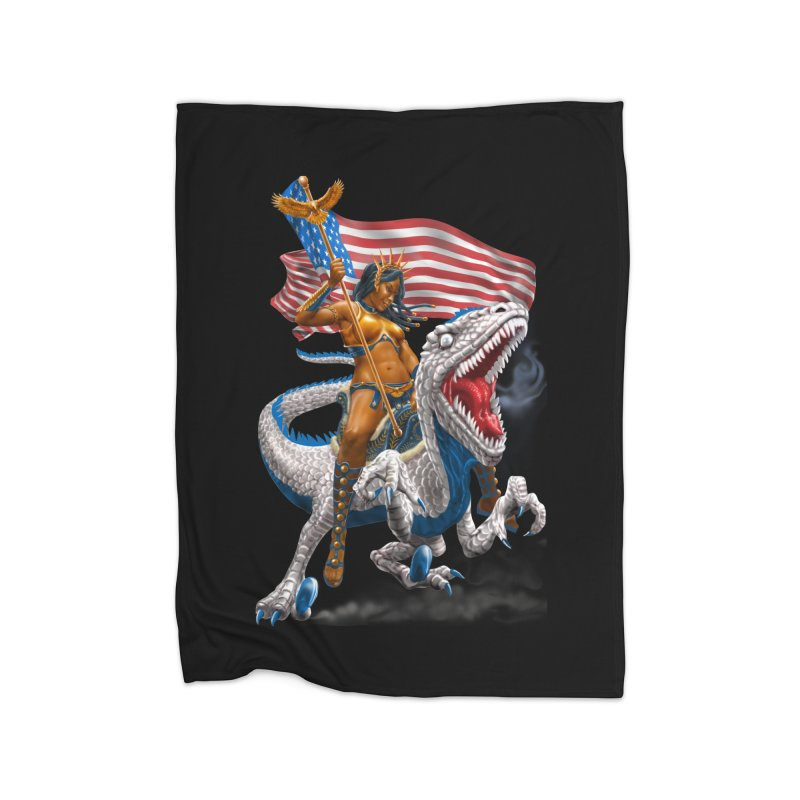 Liberty Patriosaur Home Blanket by Ayota Illustration Shop