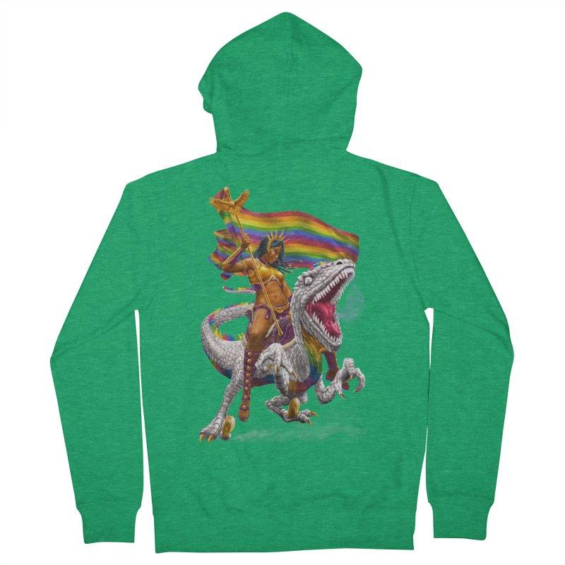 Liberty Rainbow Raptor Men's Zip-Up Hoody by Ayota Illustration Shop