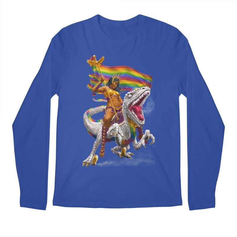 Liberty Rainbow Raptor Men's Regular Longsleeve T-Shirt by Ayota Illustration Shop