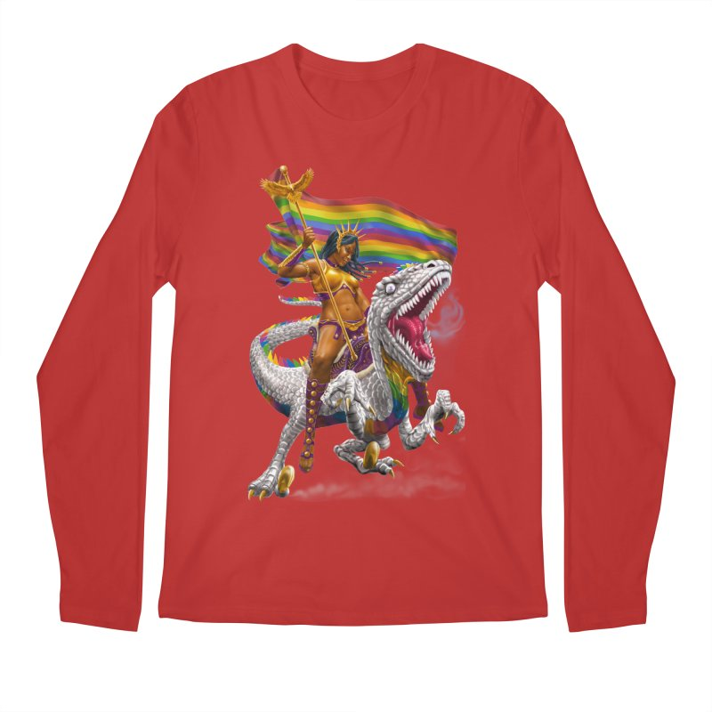 Liberty Rainbow Raptor Men's Regular Longsleeve T-Shirt by Ayota Illustration Shop