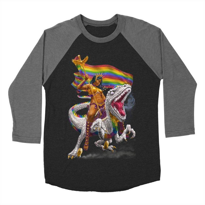 Liberty Rainbow Raptor Men's Baseball Triblend T-Shirt by Ayota Illustration Shop