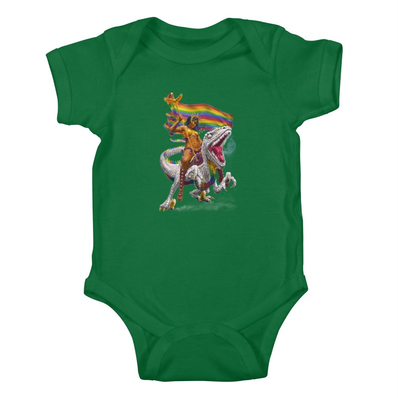 Liberty Rainbow Raptor Kids Baby Bodysuit by Ayota Illustration Shop