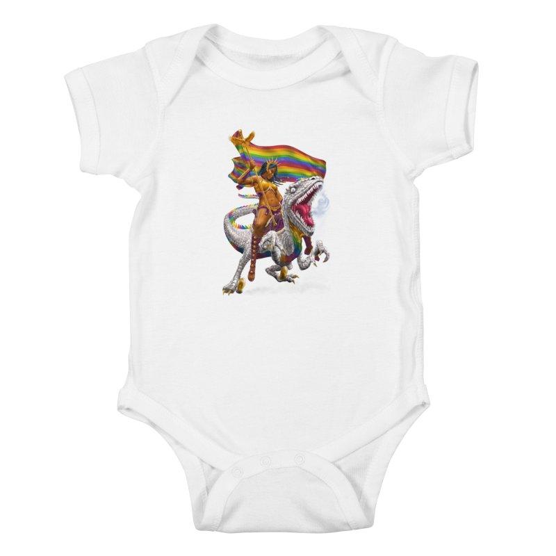 Liberty Rainbow Raptor Kids Baby Bodysuit by Ayota Illustration Shop