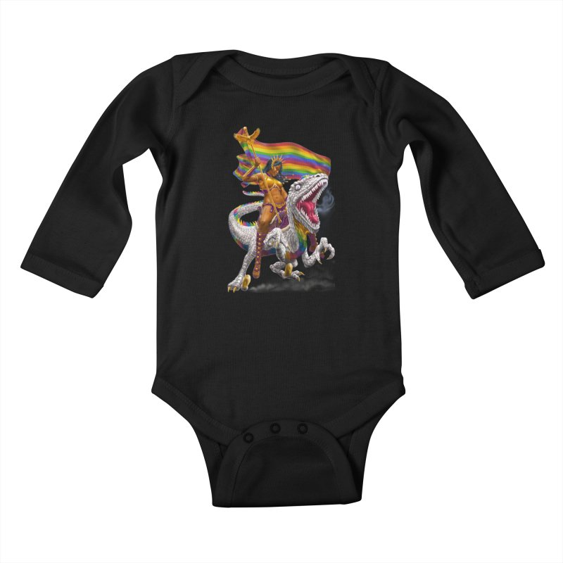 Liberty Rainbow Raptor Kids Baby Longsleeve Bodysuit by Ayota Illustration Shop