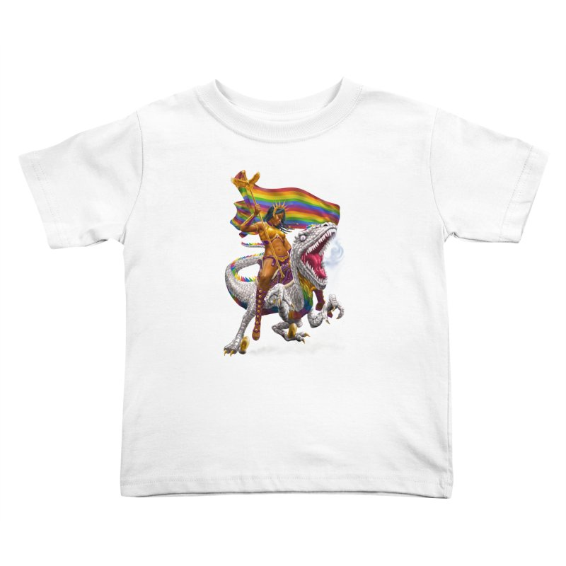 Liberty Rainbow Raptor Kids Toddler T-Shirt by Ayota Illustration Shop
