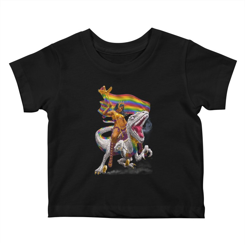 Liberty Rainbow Raptor Kids Baby T-Shirt by Ayota Illustration Shop