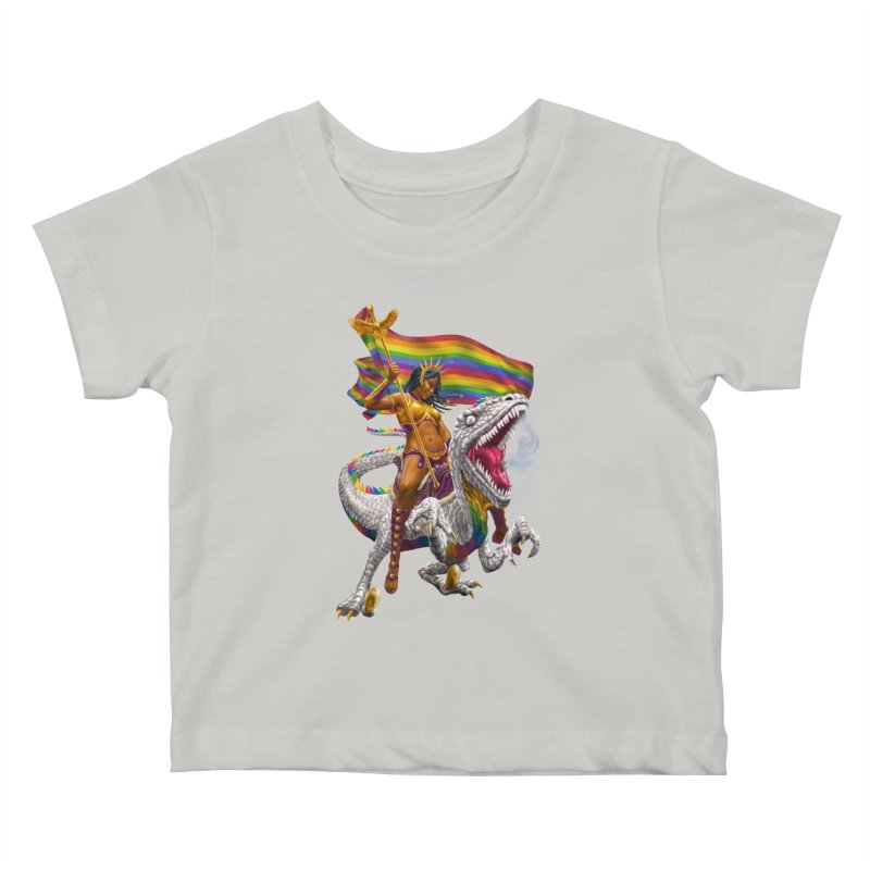 Liberty Rainbow Raptor Kids Baby T-Shirt by Ayota Illustration Shop