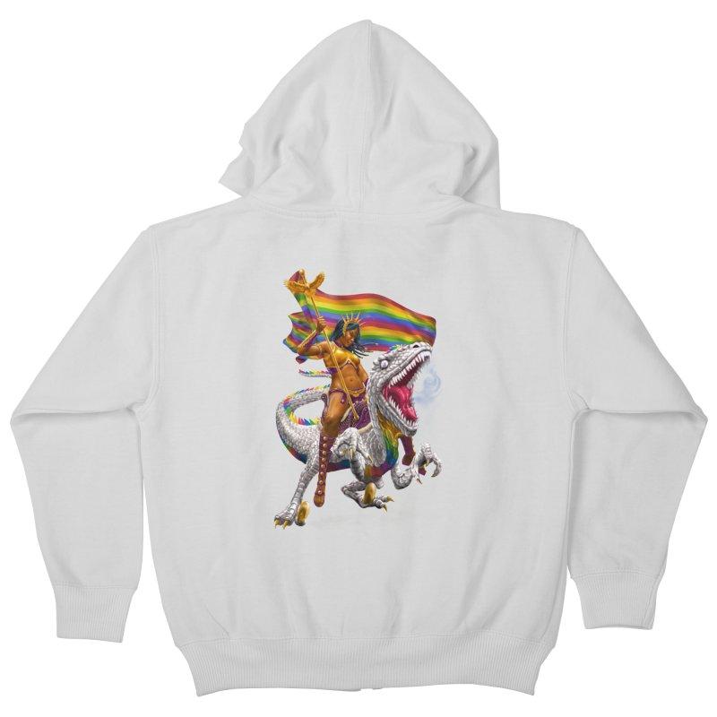 Liberty Rainbow Raptor Kids Zip-Up Hoody by Ayota Illustration Shop