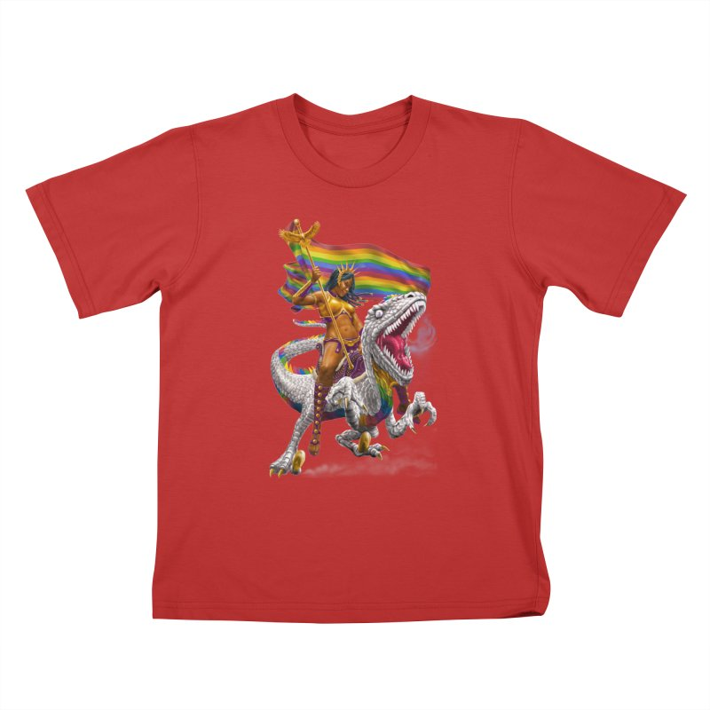 Liberty Rainbow Raptor Kids T-Shirt by Ayota Illustration Shop