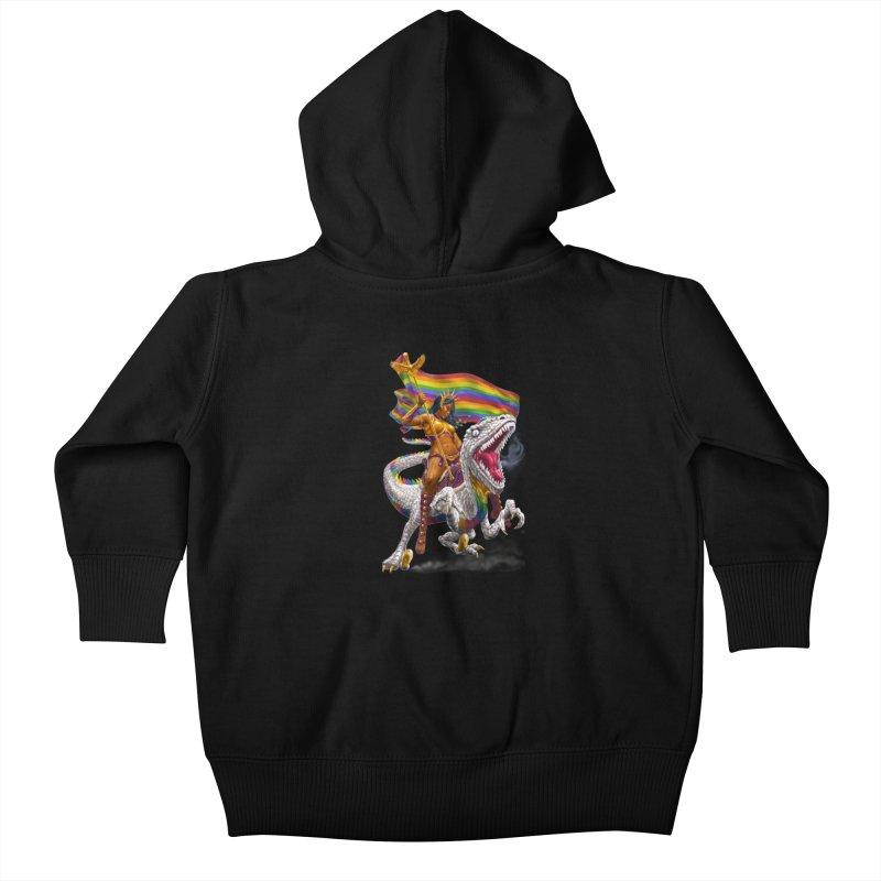 Liberty Rainbow Raptor Kids Baby Zip-Up Hoody by Ayota Illustration Shop