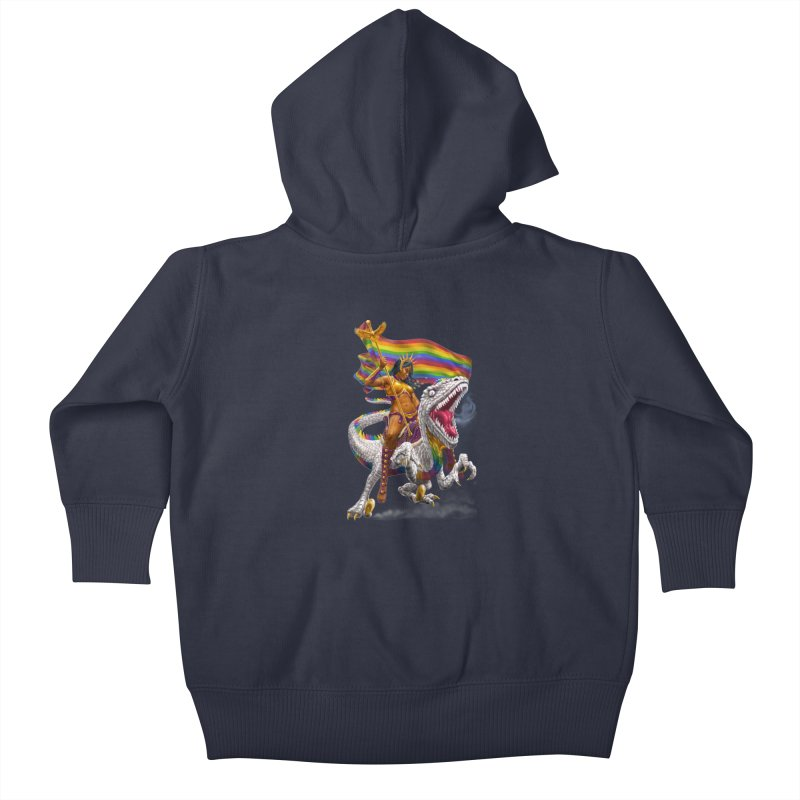 Liberty Rainbow Raptor Kids Baby Zip-Up Hoody by Ayota Illustration Shop