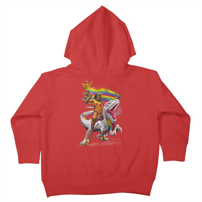 Liberty Rainbow Raptor Kids Toddler Zip-Up Hoody by Ayota Illustration Shop