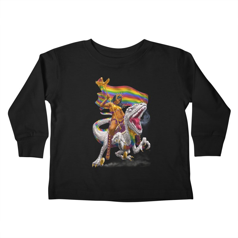 Liberty Rainbow Raptor Kids Toddler Longsleeve T-Shirt by Ayota Illustration Shop